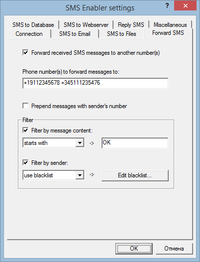 Forward SMS parameters