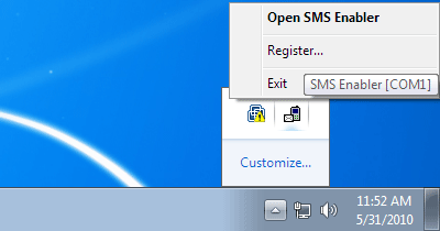 SMS Enabler system tray icon